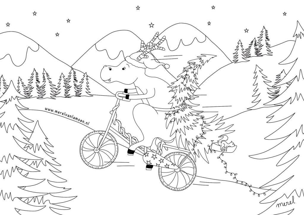 Kleurplaat_kerstfiets_merelvanlamoen